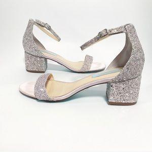 Betsey Johnson. Jayse pink & silver sparkle sandal